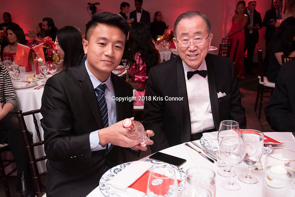 NEW YORK- JANUARY 12:  Yu Xue of Jian Nan Chun, and  Ban Ki-moon, former Secretary-General of the United Nations, attend the Chinese Arts Global Tour Gala in the Delegates Dining Room at the United Nations Headquarters on January 12th, 2019 in New York City. (Photo by Kris Connor/Smokeless Fire Group)