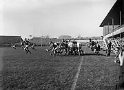 Irish Rugby Football Union, Ireland v Wales, Five Nations, Landsdowne Road, Dublin, Ireland, Saturday 10th March, 1956,.10.3.1956, 3.10.1956,..Referee- A I Dickie,  Scottish Rugby Union,..Score- Ireland 11 - 3 Wales, ..Irish Team, ..P J Berkery, Wearing number 15 Irish jersey, Full back, Landsdowne Rugby Football Club, Dublin, Ireland,..S V J Quinlan, Wearing number 14 Irish jersey, Right Wing, Highfield Rugby Football Club, Cork, Ireland, and, Blackrock College Rugby Football Club, Dublin, Ireland,..N J Henderson, Wearing number 13 Irish jersey, Captain of the Irish team, Right centre, N.I.F.C, Rugby Football Club, Belfast, Northern Ireland, ..A J O'Reilly, Wearing number 12 Irish jersey, Left Centre, Old Belvedere Rugby Football Club, Dublin, Ireland,  ..A C Pedlow, Wearing number 11 Irish jersey, Left Wing, Queens University Rugby Football Club, Belfast, Northern Ireland,..J W Kyle, Wearing number 10 Irish jersey, Ouside Half, N.I.F.C, Rugby Football Club, Belfast, Northern Ireland, ..J A O'Meara, Wearing number 9 Irish jersey, Scrum, Dolphin Rugby Football Club, Cork, Ireland, ..P J O'Donoghue, Wearing  Number 1 Irish jersey, Forward, Bective Rangers Rugby Football Club, Dublin, Ireland, ..R Roe, Wearing number 2 Irish jersey, Forward, Landsdowne Rugby Football Club, Dublin, Ireland, and, London Irish Rugby Football Club, Surrey, England, ..B G Wood, Wearing number 3 Irish jersey, Forward, Garryowen Rugby Football Club, Limerick, Ireland, ..R H Thompson, Wearing number 4 Irish jersey, Forward, Instonians Rugby Football Club, Belfast, Northern Ireland,..J R Brady, Wearing number 5 Irish jersey, Forward, C I Y M S Rugby Football Club, Belfast, Northern Ireland, ..M J Cunningham,  Wearing number 6 Irish jersey, Forward, Cork Constitution Rugby Football Club, Cork, Ireland,  ..T McGrath, Wearing number 7 Irish jersey, Forward, Garryowen Rugby Football Club, Limerick, Ireland, . .J R Kavanagh, Wearing number 8 Irish jersey, Forward, Wanderers Rugby Football Club, Dub