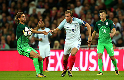 Harry Kane of England goes past Rene Krhin of Slovenia - Mandatory by-line: Robbie Stephenson/JMP - 05/10/2017 - FOOTBALL - Wembley Stadium - London, United Kingdom - England v Slovenia - World Cup qualifier