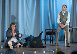 Pictured: Cal MacAninch on stage as John Muir, with Larah Bross<br /> <br /> The community in Portobello came out last night in support of a locally organised campaign to try and save a local church and its attached church hall for the community. No longer needed by the church, who plan to sell it, the hall is widely used by community groups. The campaign hopes to make use of Scottish community buy-out legislation that has recently been extended to cover urban areas in one fo the first such campaigns in a Scottish urban area. Local film acting couple, Shauna Macdonald and Cal MacAninch, were instrumental in the event that featured a variety of local talent and was attended by about 150 people, packing out the church hall. Shauna brought the show together, along with her sister Kyrsta, and Cal performed on stage in both the specially written short play that opened the evening and singing with the band Hooseband at the show's finale.  <br /> <br /> <br /> <br /> © Jon Davey/ EEm