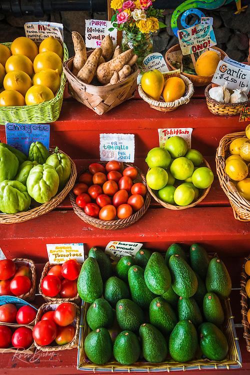 Fruits and vegetables at a local stand, Kona Coast, The Big Island, Hawaii