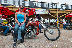 Les Covington and Michelle on Les' his Panhead at the Wrench Magazine old school bike show at the Easyriders Saloon during the annual Sturgis Black Hills Motorcycle Rally. SD, USA. August 6, 2014.  Photography ©2014 Michael Lichter.