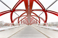 Abstract image of the beautiful new abstract pedestrian bridge over the Bow River in Calgary.<br /> <br /> ©2012, Sean Phillips<br /> http://www.RiverwoodPhotography.com