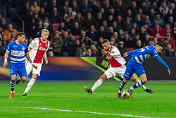 13-03-2019 NED: Ajax - PEC Zwolle, Amsterdam<br /> Ajax has booked an oppressive victory over PEC Zwolle without entertaining the public 2-1 / (L-R) Gustavo Hamer #6 of PEC Zwolle, Donny van de Beek #6 of Ajax, Zakaria Labyad #19 of Ajax, Younes Namli #21 of PEC Zwolle