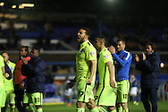 Brighton central defender, Connor Goldson (17) celebrates with the fans during the Sky Bet Championship match between Birmingham City and Brighton and Hove Albion at St Andrews, Birmingham, England on 5 April 2016.