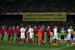 January 30, 2019 - Barcelona, Spain - political banner during the match between FC Barcelona and Sevilla FC, corresponding to the secong leg of the 1/4 final of the spanish cup, played at the Camp Nou Stadium, on 30th January 2019, in Barcelona, Spain. Photo: Joan Valls/Urbanandsport /NurPhoto. (Credit Image: © Joan Valls/NurPhoto via ZUMA Press)