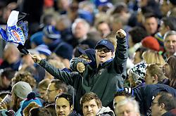 Bath fan celebrates a try.  - Photo mandatory by-line: Alex James/JMP - Mobile: 07966 386802 - 28/11/2014 - SPORT - Rugby - Bath - Recreation Ground - Bath  v Harlequins  - Aviva premiership