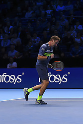 November 14, 2017 - London, United Kingdom - Henry Kontinen of Finland celebrates a point during the Doubles match against Jean-Julien Rojer of Netherland during Nitto ATP World Tour Finals at the O2 Arena, London on November 14, 2017. (Credit Image: © Alberto Pezzali/NurPhoto via ZUMA Press)