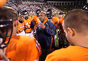Oct 23, 2010; Charlottesville, VA, USA;  Virginia Cavaliers head coach Mike London talks to his team after the 48-21 victory over the Eastern Michigan Eagles at Scott Stadium. Mandatory Credit: Andrew Shurtleff