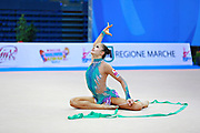 Minagawa Kaho of Japan competes during Individual qualification of ribbon in the World Cup at Adriatic Arena on April 11, 2015 in Pesaro, Italy. Kaho was born on August 20,1997 in Chiba Prefecture, Japan.