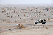 Israel, Arava, Israeli Defence Force (IDF) vehicle patrols the Jordanian Border