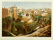 the Pool of Bethesda, Jerusalem from the book Scenes in the East : consisting of twelve coloured photographic views of places mentioned in the Bible, with descriptive letter-press. By Tristram, H. B. (Henry Baker), 1822-1906; Published by the Society for Promoting Christian Knowledge (Great Britain) in London in 1872