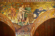 Byzantine Christian Mosaics of The Palatine Chapel  ( Capella Palatina) in The Norman Palace (Palazzo dei Normanni), Palermo, Sicily. Scenes of Christ and from the Bible. .<br /> <br /> If you prefer you can also buy from our ALAMY PHOTO LIBRARY  Collection visit : https://www.alamy.com/portfolio/paul-williams-funkystock/byzantine-art-antiquities.html . Type -    Palatine     - into the LOWER SEARCH WITHIN GALLERY box. Refine search by adding background colour, place, museum etc<br /> <br /> Visit our BYZANTINE MOSAIC PHOTO COLLECTION for more   photos  to download or buy as prints https://funkystock.photoshelter.com/gallery-collection/Roman-Byzantine-Art-Artefacts-Antiquities-Historic-Sites-Pictures-Images-of/C0000lW_87AclrOk