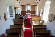 Historic interior of church at Withersdale, Suffolk, England, UK