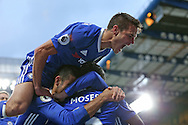 GOAL/CELE  :  Eden Hazard of Chelsea celebrates after  scoring his sides 3rd goal with Cesar Azpilicueta of Chelsea jumping above him. Premier league match, Chelsea v Manchester Utd at Stamford Bridge in London on Sunday 23rd October 2016.<br /> pic by John Patrick Fletcher, Andrew Orchard sports photography.