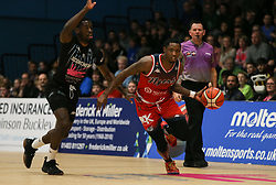 Fred Thomas of Bristol Flyers in possessino - Photo mandatory by-line: Arron Gent/JMP - 07/12/2019 - BASKETBALL - Surrey Sports Park - Guildford, England - Surrey Scorchers v Bristol Flyers - British Basketball League Championship- Photo mandatory by-line: Arron Gent/JMP - 07/12/2019 - BASKETBALL - Surrey Sports Park - Guildford, England - Surrey Scorchers v Bristol Flyers - British Basketball League Championship