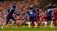 Photo: Glyn Thomas.<br />Chelsea v Liverpool. The FA Cup, Semi-Final. 22/04/2006.<br />Liverpool's John Arne Riise (second from L, partly obscured) gives his team the lead.