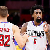 19 November 2015: Los Angeles Clippers forward Blake Griffin (32) is seen next to Los Angeles Clippers center DeAndre Jordan (6) during the Golden State Warriors 124-117 victory over the Los Angeles Clippers, at the Staples Center, Los Angeles, California, USA.