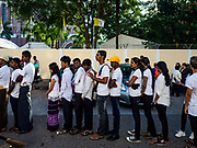 30 NOVEMBER 2017 - YANGON, MYANMAR: People line up to get into the Papal Mass at St. Mary's Cathedral in Yangon. Thursday's mass was his last public appearance in Myanmar. From Myanmar the Pope went on to neighboring Bangladesh..    PHOTO BY JACK KURTZ