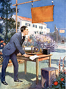Guglielmo Marconi (1874-1937) Italian physicist and inventor and radio pioneer. Artist's impression of  Marconi as a young man experimenting in his father's garden at Bologna. Halftone.