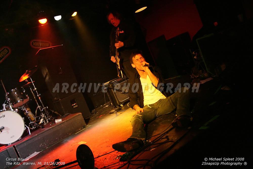 WARREN, MI, SUNDAY, JAN. 27, 2008: Circus Boy,  at The Ritz, Warren, MI, 01/27/2008. (Image Credit: Michael Spleet / 2SnapsUp Photography)