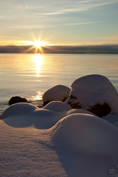 """""""Snowy Sunrise at Lake Tahoe 2"""" - These snow covered boulders were photographed at sunrise on the shore of Commons Beach in Tahoe City, Lake Tahoe."""