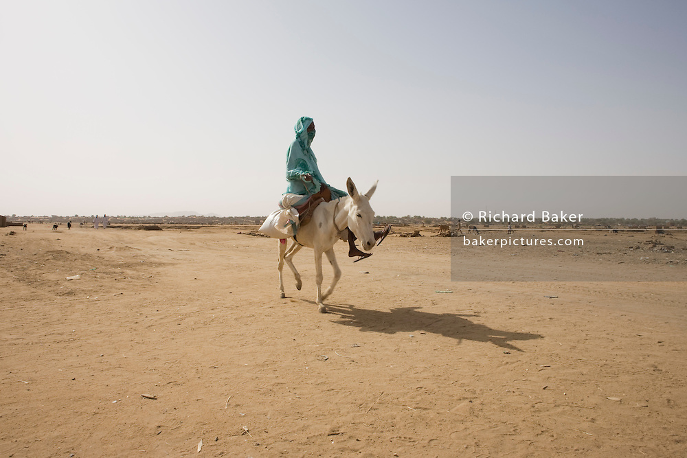 Mule and rider make their way across barren earth in the 4 sq km Abu Shouk refugee camp which is (disputedly) home to 38,000 displaced persons and families on the outskirts of the front-line town of Al Fasher (also spelled, Al-Fashir) in north Darfur. .