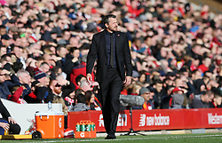 Fulham manager Slavisa Jokanovic on the touchline during the Premier League match at Anfield, Liverpool.