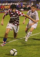Fotball, 6. september 2008 , VM-kvalifisering , Weltmeisterschaft 2010, Qualifikation, Kroatia vs Kasachstan, CRO vs KAZ. Bild zeigt Vedran Corluka (CRO) und Dmitriy Byakov (KAZ). <br /> Norway only  <br /> Kazakstan