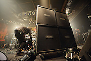 Additional speaker cabinets being moved in on stage at Pop's before Machine Head's performance on January 17, 2011.