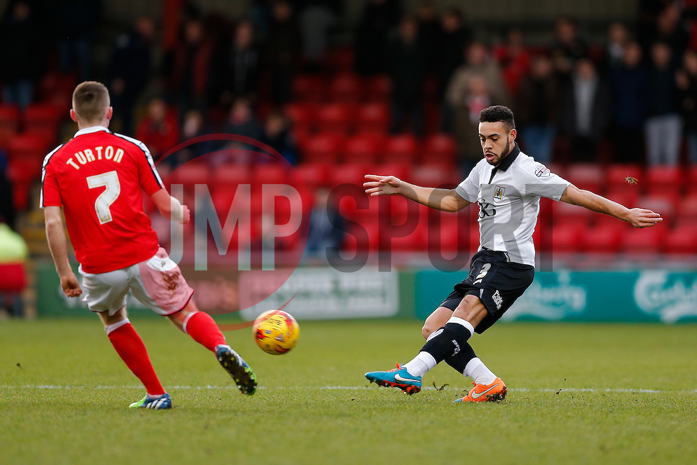 Derrick Williams of Bristol City clears past Oliver Turton of Crewe Alexandra - Photo mandatory by-line: Rogan Thomson/JMP - 07966 386802 - 20/12/2014 - SPORT - FOOTBALL - Crewe, England - Alexandra Stadium - Crewe Alexandra v Bristol City - Sky Bet League 1.