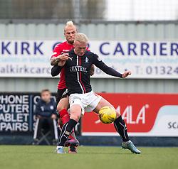 Dunfermline's Callum Higginbotham behind Falkirk's Craig Sibbald. Falkirk 2 v 1 Dunfermline, Scottish Championship game played 15/10/2016, at The Falkirk Stadium.