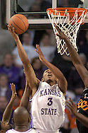 Kansas State's Lance Harris (3) scores against Oklahoma State in the first half at Bramlage Coliseum in Manhattan, Kansas, February 4, 2006.  The Cowboys  defeated K-State 63-61.