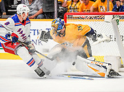 Thursday, Dec. 27, 2018 Nashville, TN Nashville Predators goalie Pekka Rinne (35) makes a pad save against New York Rangers left wing Cody McLeod (8) during a game between the New York Rangers and Nashville Predators at Bridgestone Arena in Nashville, TN Mickey Bernal/ Williamson Herald