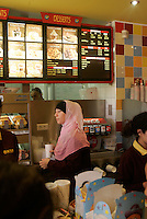 """the muslim fast food restaurant """"Beurger King Muslim"""" in Clichy-Sous-Bois, a suburb of Paris.<br /> They offer """"halal"""" (allowed for muslims) meat products, such as burgers and fried chicken.<br /> <br /> For a journal by Craig Smith<br /> <br /> © Owen Franken for the NY Times"""
