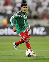 Mexico's Zinha against New Zealand in the World Cup Football qualifier, Westpac Stadium, Wellington, New Zealand, Wednesday, November 20, 2013.