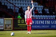 Chris Lines of Stevenage takes the side kick that leads to Luke Norris's goal for Stevenage during the EFL Sky Bet League 2 match between Stevenage and Bradford City at the Lamex Stadium, Stevenage, England on 5 April 2021.