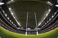 a general view inside the stadium under the closed roof. Rugby World Cup 2015 pool A match, Wales v Uruguay at the Millennium Stadium in Cardiff, South Wales  on Sunday 20th September 2015.<br /> pic by  Andrew Orchard, Andrew Orchard sports photography.