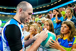 Ziga Stern of Slovenia with fans after volleyball match between Cuba and Slovenia in Final of FIVB Volleyball Challenger Cup Men, on July 7, 2019 in Arena Stozice, Ljubljana, Slovenia. Photo by Matic Klansek Velej / Sportida