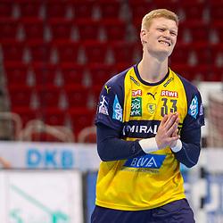 Handball, 35. Spieltag: Bergischer HC vs Rhein Neckar Loewen am 16.06.2021 im ISS Dome Düsseldorf<br /> <br /> Ymir Örn / Oern Gislason (Rhein Neckar Loewen 33) gestikuliert im Spiel der Handballliga, Bergischer HC - Rhein Neckar Loewen.<br /> <br /> Foto © PIX-Sportfotos *** Foto ist honorarpflichtig! *** Auf Anfrage in hoeherer Qualitaet/Aufloesung. Belegexemplar erbeten. Veroeffentlichung ausschliesslich fuer journalistisch-publizistische Zwecke. For editorial use only.