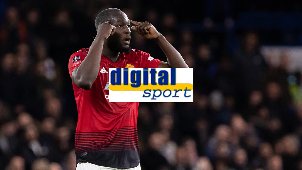 Football - 2018 / 2019 Emirates FA Cup - Fifth Round: Chelsea vs. Manchester United <br /> <br /> Romelu Lukaku (Manchester United) tells his team to focus after they take a 2-0 lead at Stamford Bridge<br /> <br /> COLORSPORT/DANIEL BEARHAM