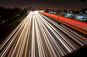 Traffic On The 405 Freeway At Night In Fountain Valley