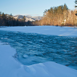 Saco River in winter. Bartlett, new Hampshire. White Mountains.