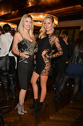 Left to right, ASHLEY JAMES and KIMBERLEY GARNER at a party to celebrate the 15th anniversary of Myla held at the House of Myla, 8-9 Stratton Street, London on 21st October 2014.