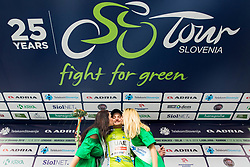 Winner Simone Consonni of UAE celebrates in green jersey as best in Overall classification during trophy ceremony after the 1st Stage of 25th Tour de Slovenie 2018 cycling race between Lendava and Murska Sobota (159 km), on June 13, 2018 in  Slovenia. Photo by Vid Ponikvar / Sportida
