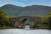 Under Torc Mountain is Bricin Bridge on Lough Lein, Killarney , Ireland which joins the middle and lower lakes. <br /> Picture by Don MacMonagle macmonagle.com