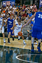 23 June 2012: Brian Ehresman and defender Mark Niebrugge.  Illinois Basketball Coaches Association (IBCA) All Star game at Shirk Center, Illinois Wesleyan, Bloomington, IL