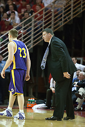 14 October 2006:  Coach Greg McDermott has a few choice words for Brooks McKowen.....In a game that involved both coaches as much as the players, the Northern Iowa Panthers plucked the Illinois State University Redbirds in a Missouri Valley Conference game by a score of 67 - 52. Competition took place at Redbird Arena in Normal Illinois