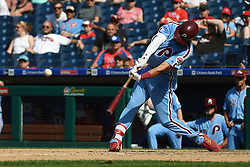 June 14, 2018 - Philadelphia, PA, U.S. - PHILADELPHIA, PA - JUNE 14: Philadelphia Phillies Infield J.P. Crawford (2) hits a triple during the MLB baseball game between the Philadelphia Phillies and the Colorado Rockies on June 14, 2018 at Citizens Bank Park in Philadelphia, PA. The Phillies won 9-3. (Photo by Andy Lewis/Icon Sportswire) (Credit Image: © Andy Lewis/Icon SMI via ZUMA Press)