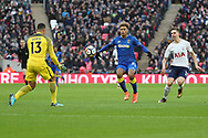 AFC Wimbledon striker Lyle Taylor (33) chasing a through ball during the The FA Cup 3rd round match between Tottenham Hotspur and AFC Wimbledon at Wembley Stadium, London, England on 7 January 2018. Photo by Matthew Redman.